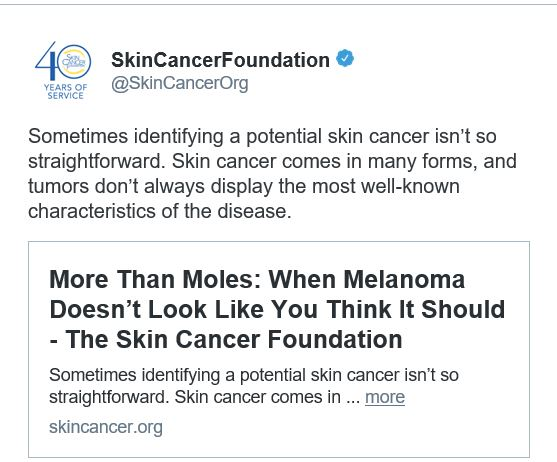 Follow Skin Cancer Org on Twitter